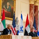 Israeli Foreign Minister Yair Lapid, accompanied by U.S. Secretary of State Antony Blinken and United Arab Emirates Foreign Minister Sheikh Abdullah bin Zayed al-Nahyanin, speaks at a joint news conference at the State Department in Washington, U.S., today.