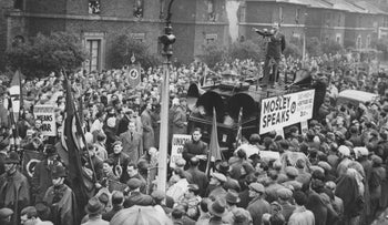 English fascist leader Oswald Mosley addresses a large crowd in Dalston, London in 1948