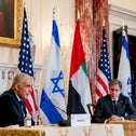Yair Lapid and Antony Blinken at a joint news conference in Washington on Wednesday.