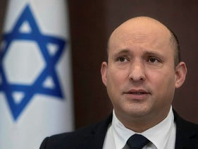 Israeli Prime Minister Naftali Bennett during the weekly cabinet meeting yesterday