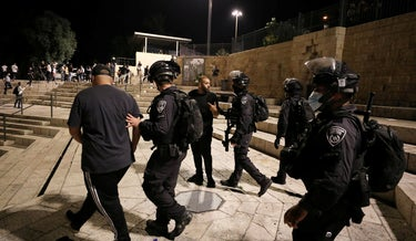 Israeli Police clashing with Palestinians at Damascus gate, last month.