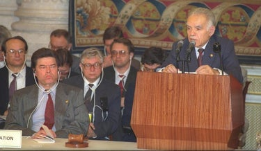 Prime Minister Yitzhak Shamir at the Madrid Conference in 1991.