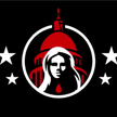 Image showing the iconization of Ashli Babbitt as MAGA martyr: The drop of blood signifies her death, the four stars indicate the four 'martyrs' of the insurrection