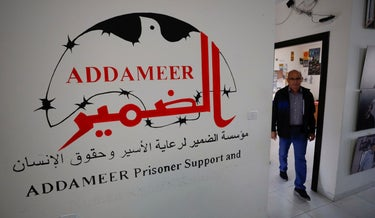 A man working inside the Palestinian civil society group Addameer, which was designated a terrorist organization by Israel last week, in Ramallah earlier today.