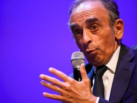 Far right pundit Eric Zemmour, floating a possible presidential bid, speaks at another stop in his nationwide book tour last month. He has previously been convicted of inciting racial and religious hatred