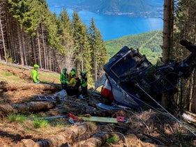 A crashed cable car is seen after it collapsed in Stresa, Italy, in May.