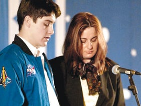 Rona Ramon and her late son, Asaf, at a 2003 memorial for Ilan Ramon.