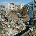 A neighborhood in southern Beirut demolished in the Second Lebanon War, as seen in October 2006.