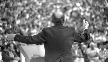 Menachem Begin at an Independence Day rally in Ariel, 1981.
