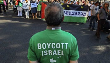 A New York protester calling for a boycott of Israel.