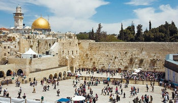 Genuine photo of Temple Mount, with Western Wall in foreground and Dome of the Rock in left background.