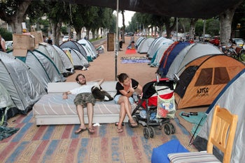 Protest tents against housing shortages and high rent prices on Rothschild Boulevard, Tel Aviv, July 2011.