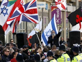 """English Defence League rally against the """"Islamification"""" of the UK and in support of Israel, outside the Israeli Embassy in London. October 24, 2010."""