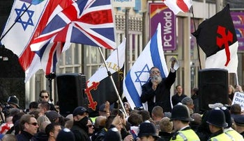 "English Defence League rally against the ""Islamification"" of the UK and in support of Israel, outside the Israeli Embassy in London. October 24, 2010."