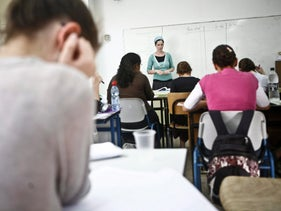 High school girls studying for the psychometric exam in Jerusalem in 2010.