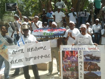 Eritreans in Israel protesting against dictatorship in their homeland on Eritrean Independence Day .