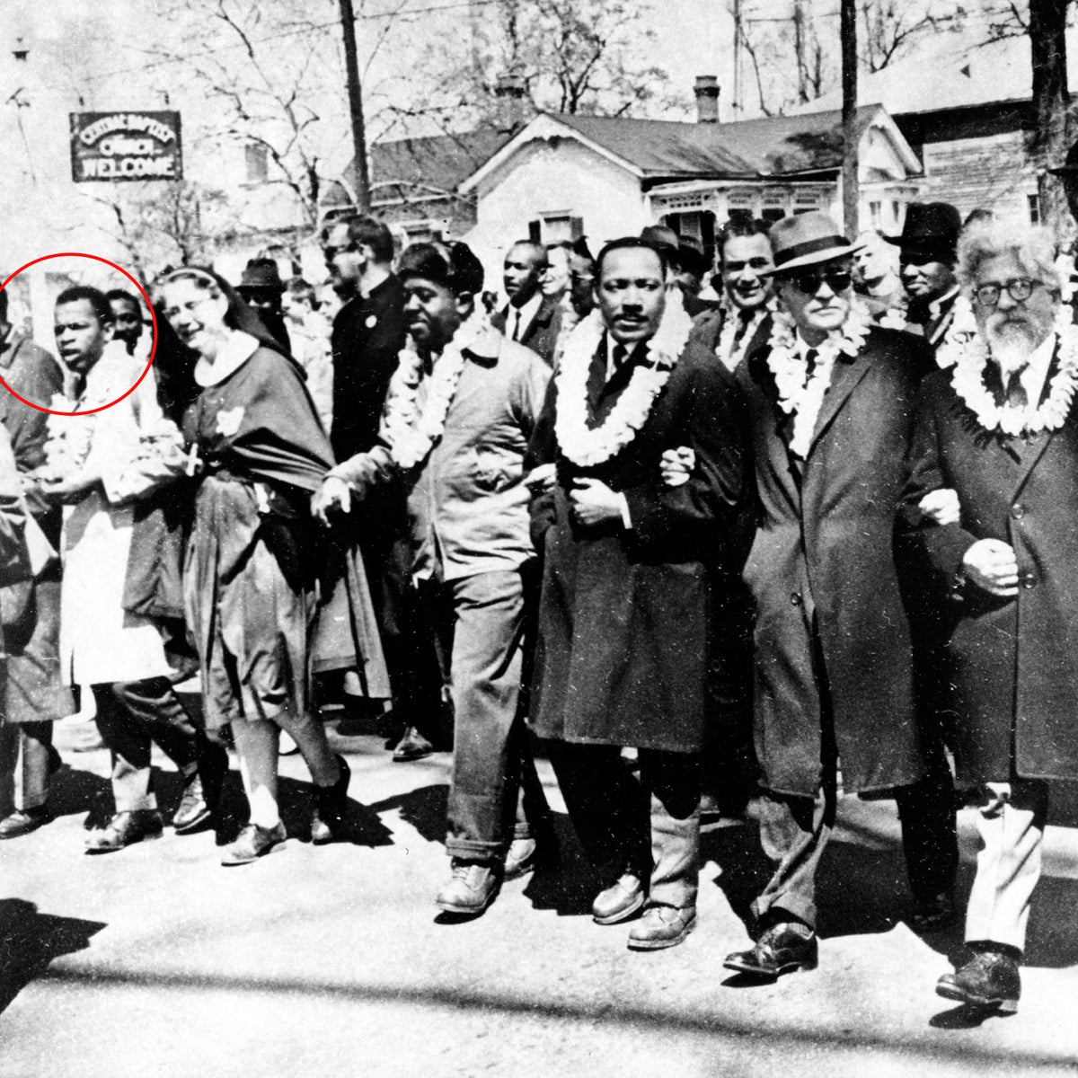 Martin Luther King Jr. marching in Selma, Alabama, alongside Rabbi Abraham Joshua Heschel and other civil rights activists.