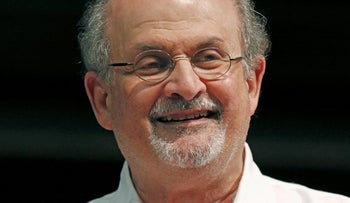 Author Salman Rushdie laughs. 'I'm extremely worried about next year's election, because I think if he's re-elected then frankly we're all screwed'