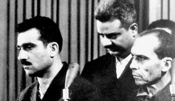 The trial of Eli Cohen (left), Damascus, 1965.
