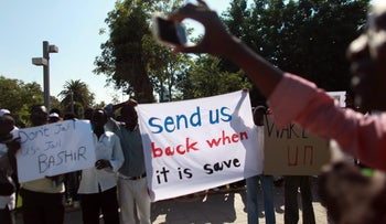 Sudanese migrants protesting in Israel.