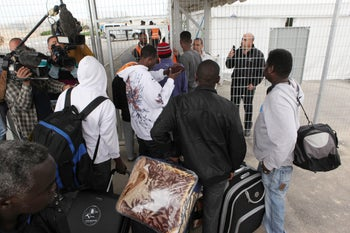 African asylum seekers at Holot detention center in the Negev.