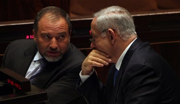 Foreign Minister Avigdor Lieberman and Prime Minister Benjamin Netanyahu in the Knesset.