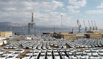 New cars lined up at the Eilat port.