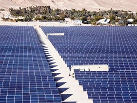 Despite solar energy farms like this one at Kibbutz Ketura in the Arava, current use of renewable enrgy sources in Israel in minimal.