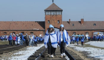 Israeli high-school students at Auschwitz during a Holocaust trip.in May.