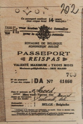 A passport from the exhibit that was issued by Aristides de Sousa Mendes.