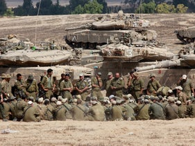 Israeli military forces on the border with Gaza during the 2014 Operation Protective Edge.