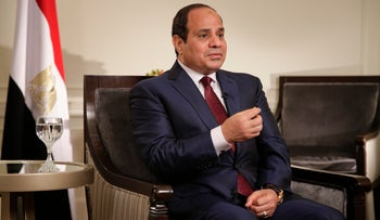 Egyptian President Abdel Fattah al-Sissi answers questions during an interview, New York, U.S., September 26, 2015.