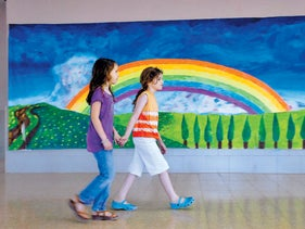 The Galilee School in the Misgav district, where Arab and Jewish students learn together in Arabic and in Hebrew. The photograph shows two girls walking hand-in-hand past a brightly painted landscape featuring a rainbow, hills and trees.