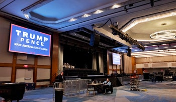 The election night ballroom for Republican presidential candidate Donald Trump is shown in a Hilton Hotel, Monday, Nov. 7, 2016, in New York.