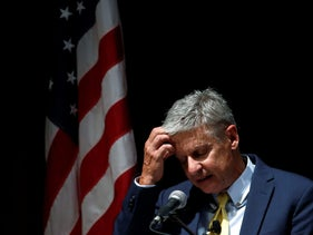 U.S. Libertarian presidential candidate Gary Johnson delivers a foreign policy address at the University of Chicago in Chicago, Illinois, U.S., October 7, 2016.