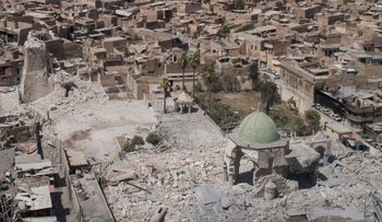 Aerial view of the destroyed al-Nuri mosque in the Old City of Mosul, Iraq, Wednesday, June 28, 2017.