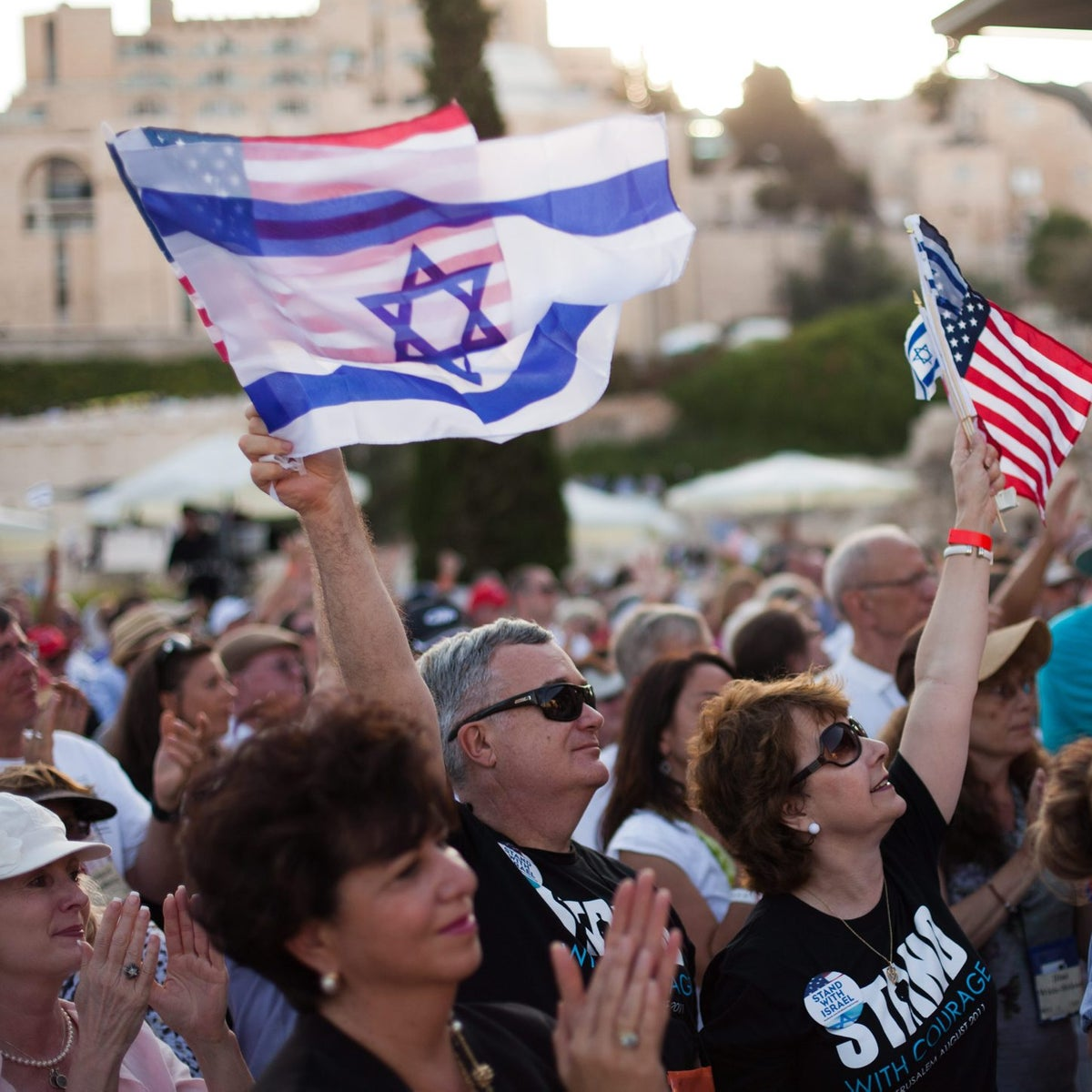 Israelis and Americans at a gathering overlooking the Western Wall and Temple Mount, 2011.