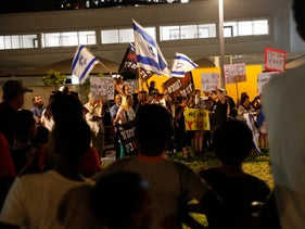 A protest by residents of south Tel Aviv against deportation of asylum seekers, Aug 28, 2017