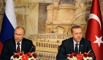 Turkish Prime Minister Recep Tayyip Erdogan and Russian President Vladimir Putin, December 3, 2012.