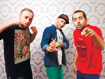 """DAM, from left: Suhell Nafar, Tamer Nafar and Mahmoud Jreri. """"It is still protest music, but we don't yell anymore,"""" says Tamer."""