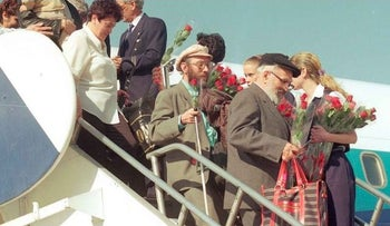Soviet Jews arriving at Tel Aviv's Ben-Gurion International Airport.