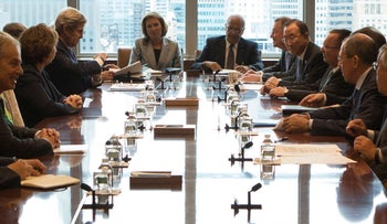 A meeting of the Middle East Quartet on the sidelines of the UN General Assembly at UN headquarters in New York, September 27, 2013.