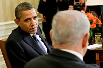 Obama and Netanyahu during their meeting at the White House, September 30, 2013.