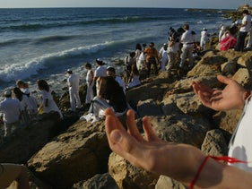 Worshippers of kabbala, or Jewish mysticism, at a conference in Tel Aviv.