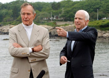 George H.W. Bush with Republican John McCain in 2008