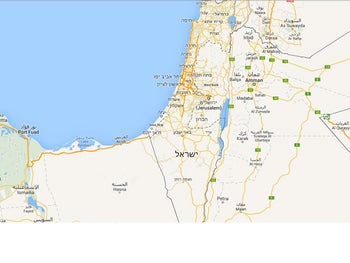 A Google Map showing part of Israel.