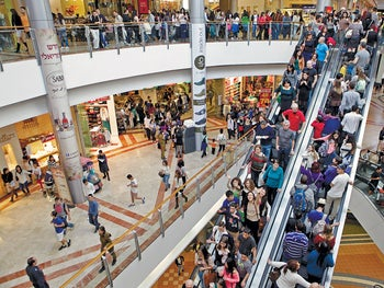 Shoppers packing the Azrieli Center mall in Tel Aviv.