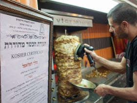 Shawarma restaurant with a kashrut certificate issued by the Chief Rabbinate.