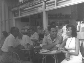 Super-stylish customers at a Cafe Cooky,  Dizengoff ST. in Tel Aviv, 1958.