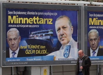 Despite its highs and lows, Israel values relations with Turkey far more than those with Armenia: A billboard celebrating Netanyahu's 2013 apology to Erdogan for the Mavi Marmara affair